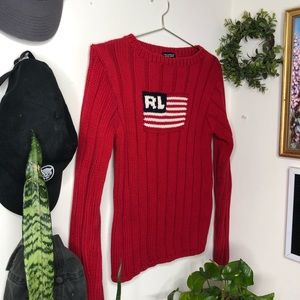 Ralph Lauren Vintage Knit American Flag Sweater